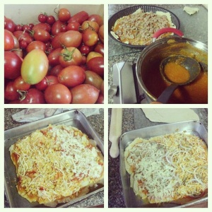 De cima para baixo e da esquerda para a direita: a colheita da tarde, pizza de atum, pizza vegetariana e pizza de bacon antes de irem ao forno.